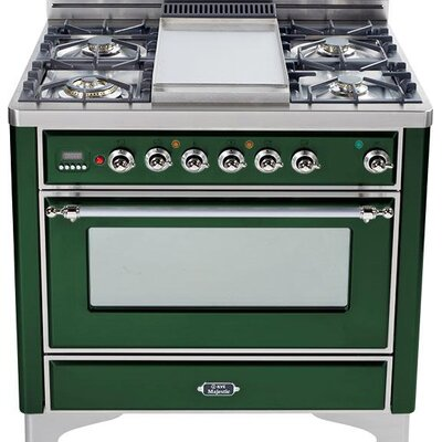"36"" Free-standing Gas Range with Griddle Finish: Emerald Green, Gas Type: Natural Gas"
