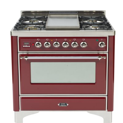 """36"""" Free-standing Gas Range with Griddle Finish: Burgundy, Gas Type: Natural Gas"""