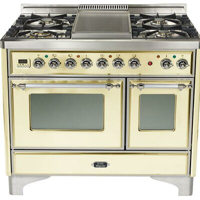"40"" Free-standing Gas Range with Griddle Finish: Antique White, Gas Type: Natural Gas"
