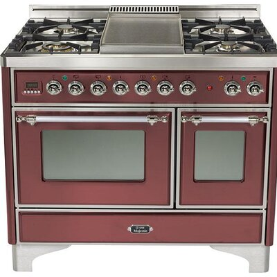 """40"""" Free-standing Gas Range with Griddle Finish: Burgundy, Gas Type: Natural Gas"""