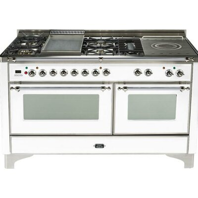 "60"" Free-standing Gas Range with Griddle Finish: True White, Gas Type: Liquid Propane"