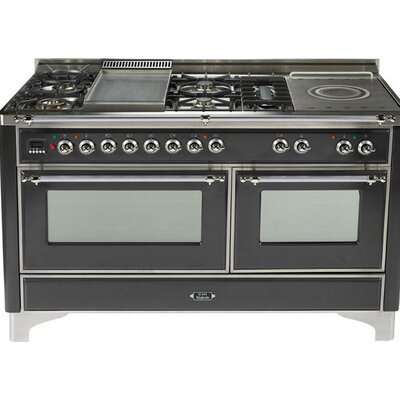 "60"" Free-standing Gas Range with Griddle Finish: Graphite, Gas Type: Natural Gas"