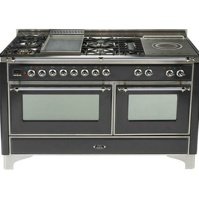 "60"" Free-standing Dual Fuel Range with Griddle Finish: Matte Graphite, Gas Type: Liquid Propane"