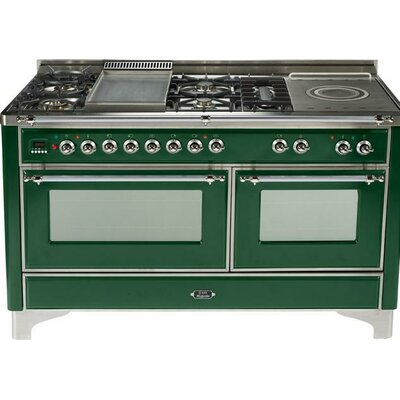 """60"""" Free-standing Gas Range with Griddle Finish: Emerald Green, Gas Type: Natural Gas"""