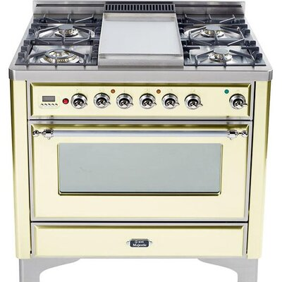 """36"""" Free-standing Gas Range with Griddle Finish: Antique White, Gas Type: Natural Gas"""