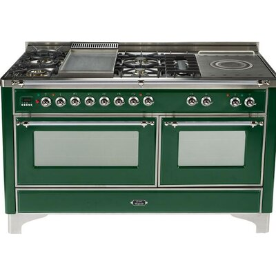 """60"""" Free-standing Dual Fuel Range with Griddle Finish: Emerald Green, Gas Type: Liquid Propane"""