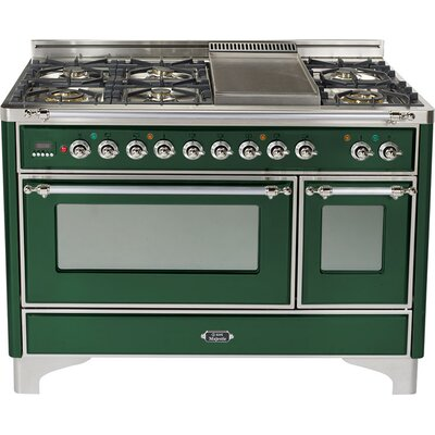 """Majestic 48"""" Free-standing Dual Fuel Range with Griddle Finish: Emerald Green, Gas Type: Natural Gas"""