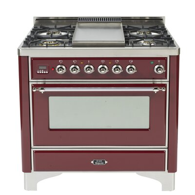 """36"""" Free-Standing Dual Fuel Range with Griddle Finish: Burgundy, Gas Type: Liquid Propane"""