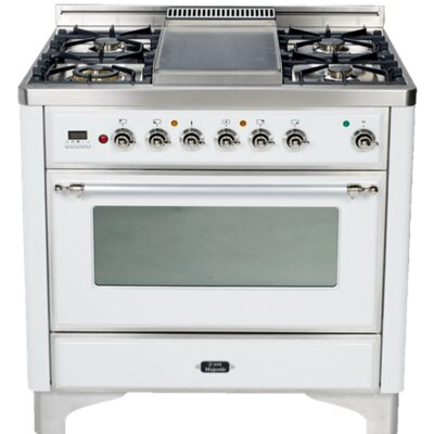 "36"" Free-Standing Dual Fuel Range with Griddle Finish: True White, Gas Type: Liquid Propane"