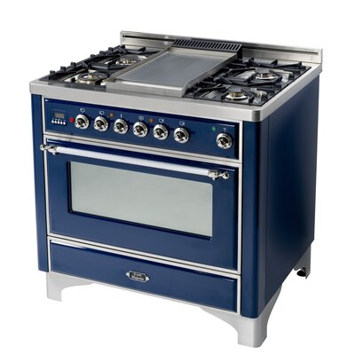 "36"" Free-Standing Dual Fuel Range with Griddle Finish: Midnight Blue, Gas Type: Liquid Propane"