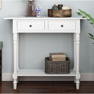 Cable Knit Console Table Color: Distressed Cream