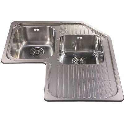 CDA 83 cm x 83 cm Corner Double Bowl Kitchen Sink