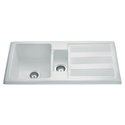 CDA Ceramic 101cm x 51cm One and a Half Bowl Kitchen Sink