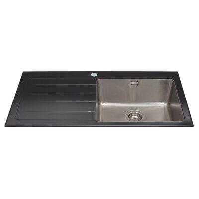 CDA 100 cm x 52 cm Glass Single Right Handed Bowl Kitchen Sink