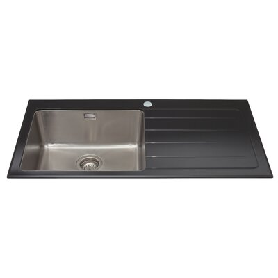 CDA 100cm x 52cm Glass Single Left Handed Bowl Kitchen Sink