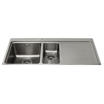CDA 100 cm x 52 cm One and a Half Bowl Right Handed Flush Fit Kitchen Sink