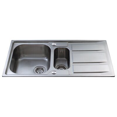 CDA 97cm x 50cm Stainless Steel 1 and a Half Bowl Kitchen Sink