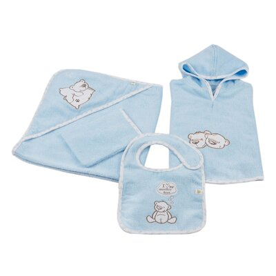 Cotton and Olive 4 Piece Twin Bears Organic Cotton Baby Poncho Set
