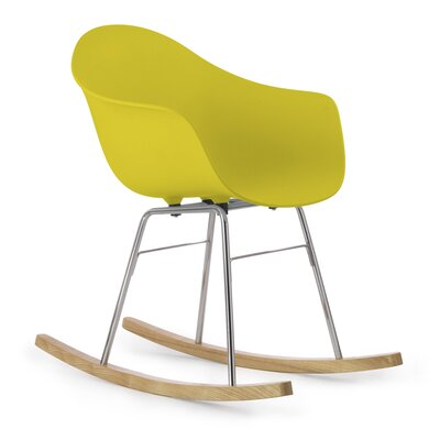 TA Rocking Chair Seat Color: Mustard, Frame Color: Chrome / Natural Wood