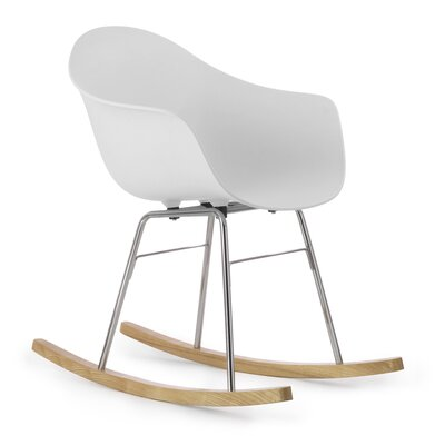 TA Rocking Chair Seat Color: White, Frame Color: Chrome / Natural Wood