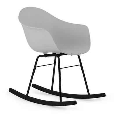 TA Rocking Chair Seat Color: Cool Grey, Frame Color: Black Metal / Wood