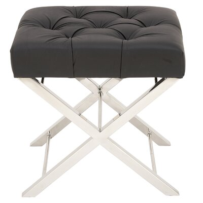 Tufted Leather Vanity Stool Color: Black