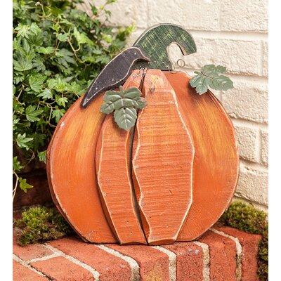 Wood and Metal Pumpkin Garden Stake