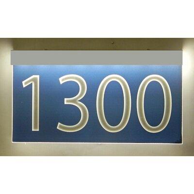 1-Line Lawn Address Sign Plaque Color: Blue, Top Finish: Silver