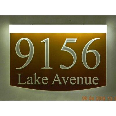2-Line Lawn Address Sign Plaque Color: Blue, Top Finish: Bronze