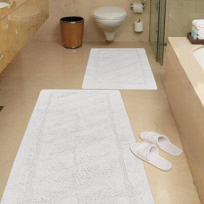 Ruby 2 Piece Super-Soft Hand-Tufted Natural Cotton Bath Rug Set Color: White