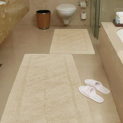 Ruby 2 Piece Super-Soft Hand-Tufted Natural Cotton Bath Rug Set Color: Beige