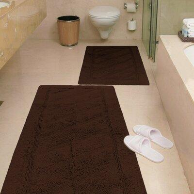 Ruby 2 Piece Super-Soft Hand-Tufted Natural Cotton Bath Rug Set Color: Brown