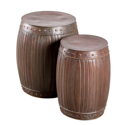 Borough Wharf King City 2 Piece Fluted Barrel Stool Set