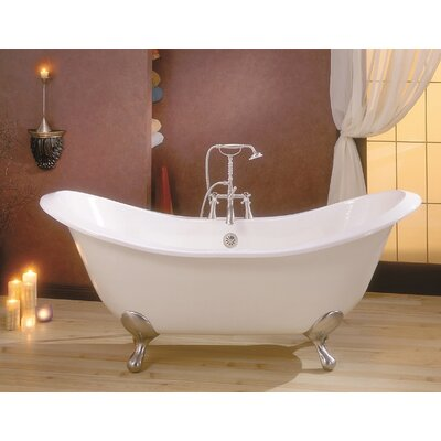 """Regency 68"""" x 31"""" Soaking Bathtub with 6"""" Drilling Feet Finish: Antique Bronze, Color: White Interior with White Exterior"""