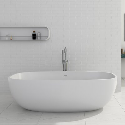 "Giorgio Solid Surface 67"" x 27.5"" Freestanding Soaking Bathtub"