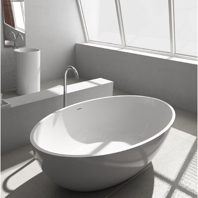 "Pietro Solid Surface 69.25"" x 40.5"" Freestanding Soaking Bathtub"