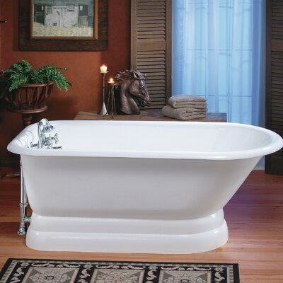 "Traditional Cast Iron 68"" x 30"" Freestanding Soaking Bathtub with Pedestal Base Color: White, Faucet Hole Configuration: 3.375"" Faucet Holes in Tub Wall"