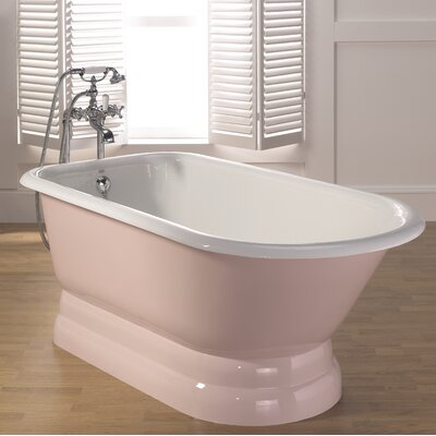 "Traditional Cast Iron 68"" x 30"" Freestanding Soaking Bathtub with Pedestal Base Color: Pink, Faucet Hole Configuration: Continuous Rolled Rim - No Faucet Holes"