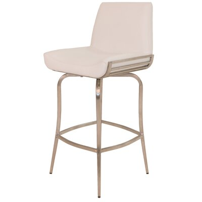 """Degorah 26"""" Swivel Bar Stool Upholstery: Ivory"""
