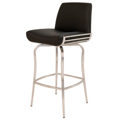 "Degorah 26"" Swivel Bar Stool Upholstery: Black"