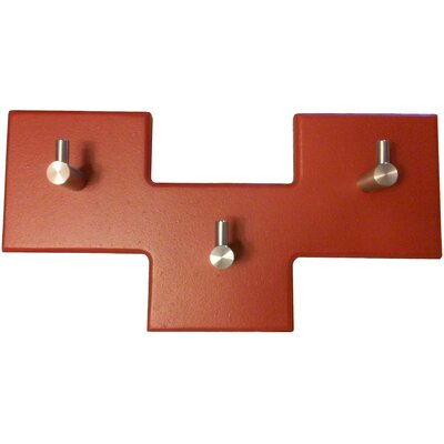 3 Square Offset Modern Coat Rack Finish: Brick Red