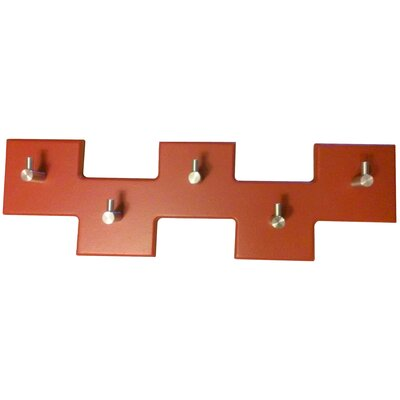5 Square Offset Modern Coat Rack Finish: Brick Red