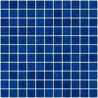 """1"""" x 1"""" Glass Mosaic Tile in Glossy Cobalt blue"""