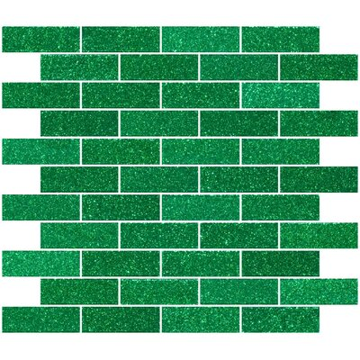 """1"""" x 3"""" Glass Subway Tile in Emerald Green"""