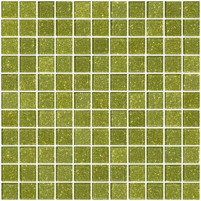 """1"""" x 1"""" Glass Mosaic Tile in Light Lime Green"""