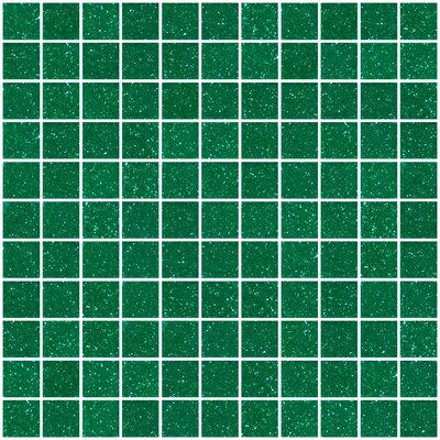 """1"""" x 1"""" Glass Mosaic Tile in Glossy Emerald green"""