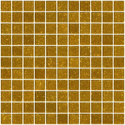 """1"""" x 1"""" Glass Mosaic Tile in Gold"""