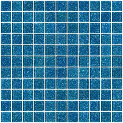 "1"" x 1"" Glass Mosaic Tile in Denim Blue"