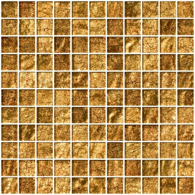 "1"" x 1"" Glass Mosaic Tile in Golden Rust"