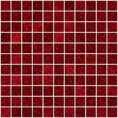 """1"""" x 1"""" Glass Mosaic Tile in Glossy Red"""